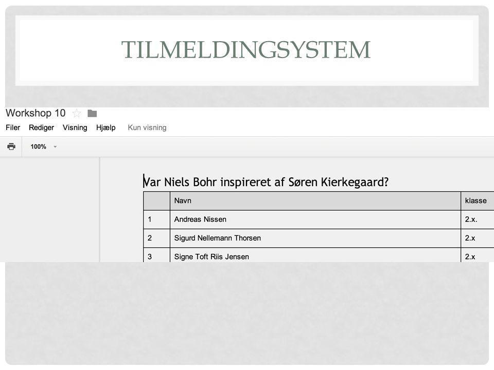 TILMELDINGSYSTEM