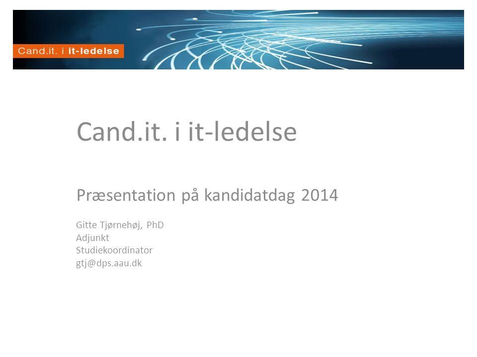 Velkommen Cand.it. i it-ledelse Præsentation på kandidatdag 2014 Gitte Tjørnehøj, PhD Adjunkt Studiekoordinator gtj@dps.aau.dk