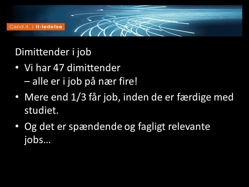 Vision Dimittender i job • Vi har 47 dimittender – alle er i job på nær fire! • Mere end 1/3 får job, inden de er færdige med studiet. • Og det er spæ