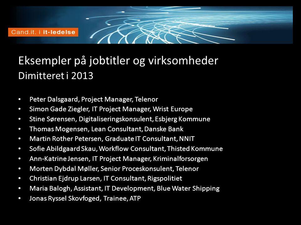 Vision Eksempler på jobtitler og virksomheder Dimitteret i 2013 • Peter Dalsgaard, Project Manager, Telenor • Simon Gade Ziegler, IT Project Manager,