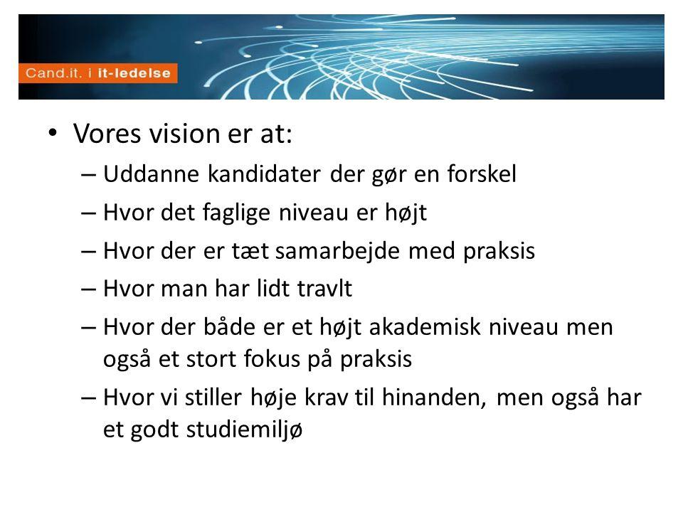 Vision • Vores vision er at: – Uddanne kandidater der gør en forskel – Hvor det faglige niveau er højt – Hvor der er tæt samarbejde med praksis – Hvor