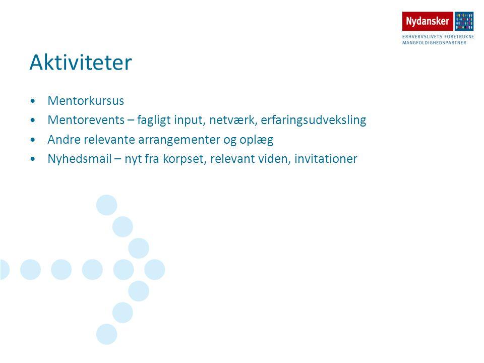 Aktiviteter •Mentorkursus •Mentorevents – fagligt input, netværk, erfaringsudveksling •Andre relevante arrangementer og oplæg •Nyhedsmail – nyt fra ko