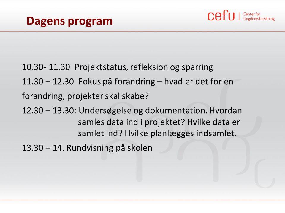 Dagens program 10.30- 11.30 Projektstatus, refleksion og sparring 11.30 – 12.30 Fokus på forandring – hvad er det for en forandring, projekter skal sk