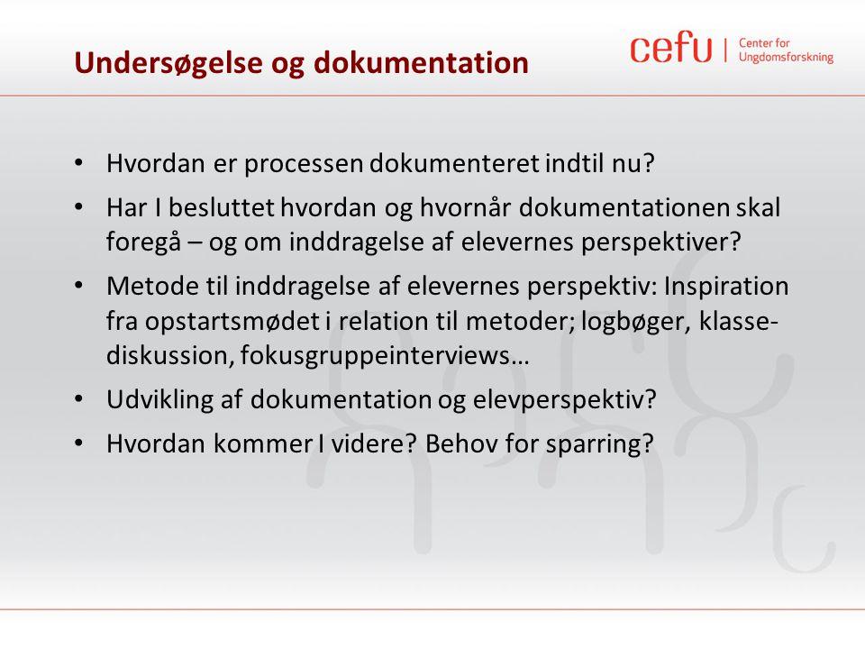 Undersøgelse og dokumentation • Hvordan er processen dokumenteret indtil nu? • Har I besluttet hvordan og hvornår dokumentationen skal foregå – og om