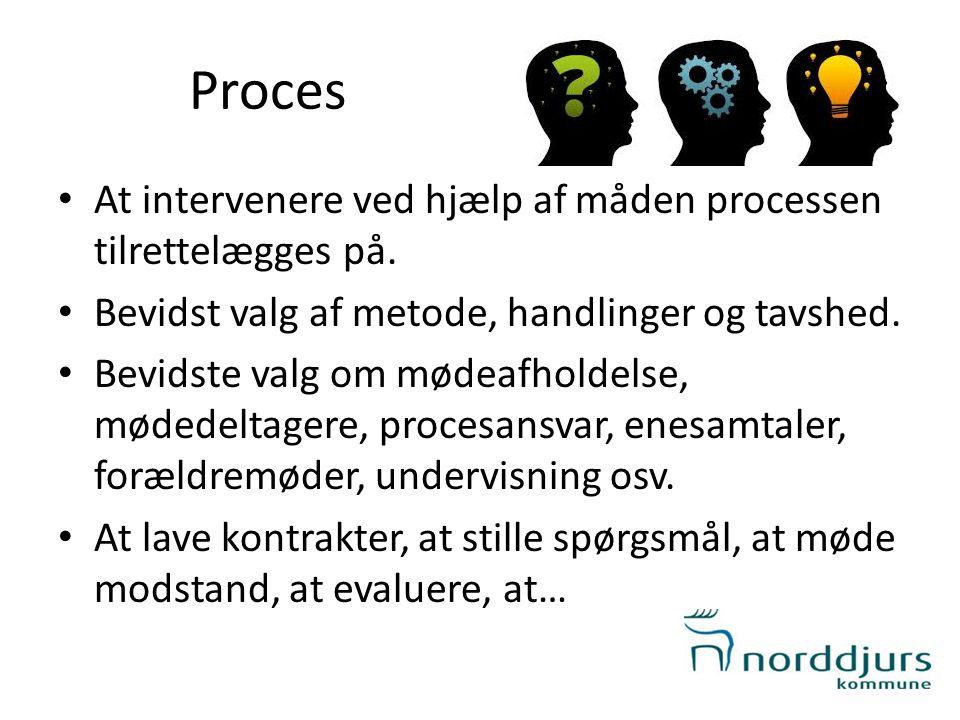 Proces • At intervenere ved hjælp af måden processen tilrettelægges på. • Bevidst valg af metode, handlinger og tavshed. • Bevidste valg om mødeafhold