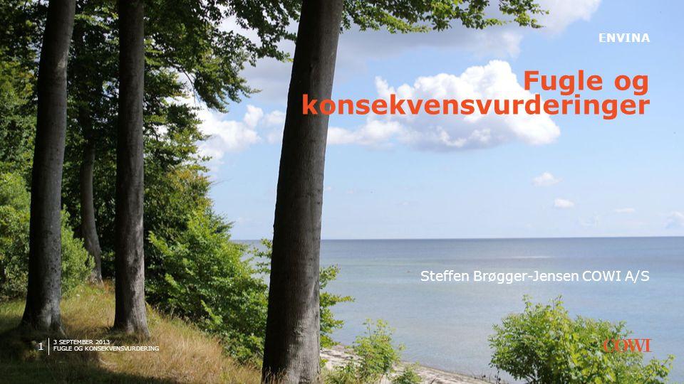 3 SEPTEMBER 2013 FUGLE OG KONSEKVENSVURDERING 2 Steffen Brøgger-Jensen Biolog (PhD) COWI A/S Fagspecialist (biodiversitet)