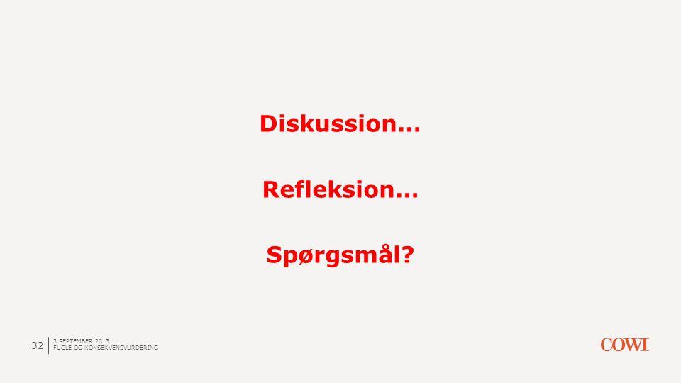 3 SEPTEMBER 2013 FUGLE OG KONSEKVENSVURDERING 32 Diskussion… Refleksion… Spørgsmål?