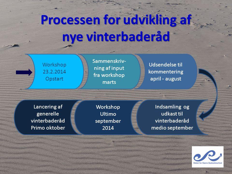 Processen for udvikling af nye vinterbaderåd Workshop 23.2.2014 Opstart Udsendelse til kommentering april - august Sammenskriv- ning af input fra work