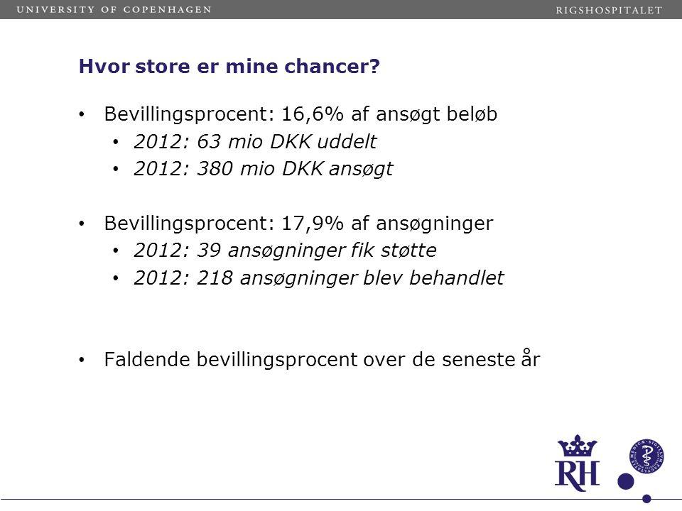 Hvor store er mine chancer? • Bevillingsprocent: 16,6% af ansøgt beløb • 2012: 63 mio DKK uddelt • 2012: 380 mio DKK ansøgt • Bevillingsprocent: 17,9%