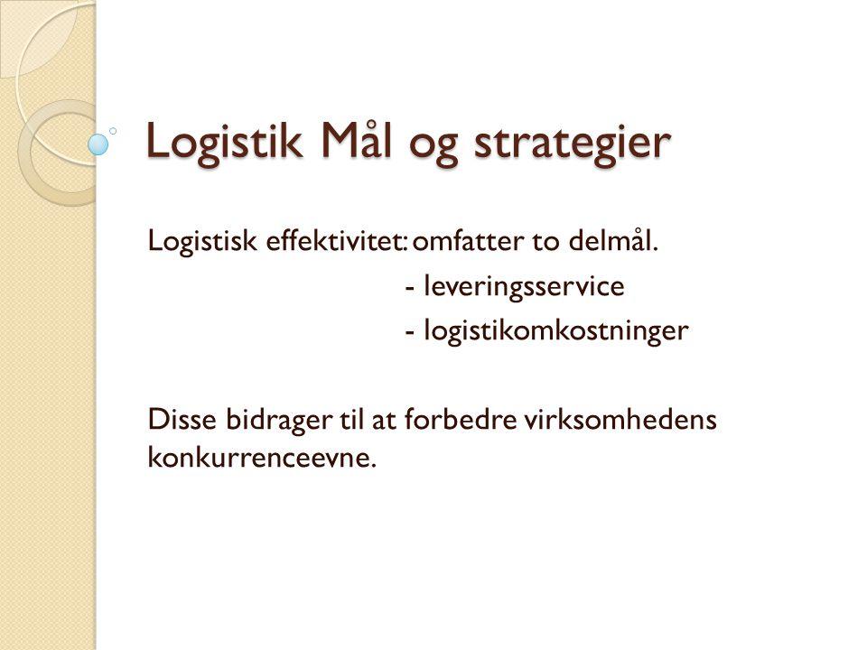 Logistik Mål og strategier Logistisk effektivitet: omfatter to delmål.
