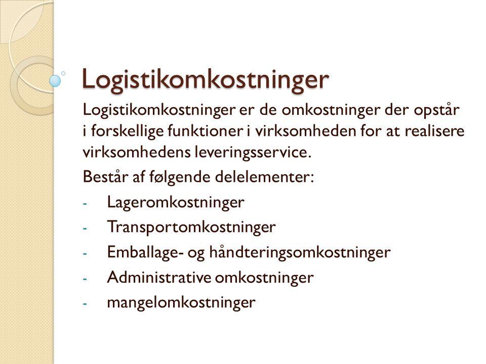 Logistikomkostninger Logistikomkostninger er de omkostninger der opstår i forskellige funktioner i virksomheden for at realisere virksomhedens leveringsservice.