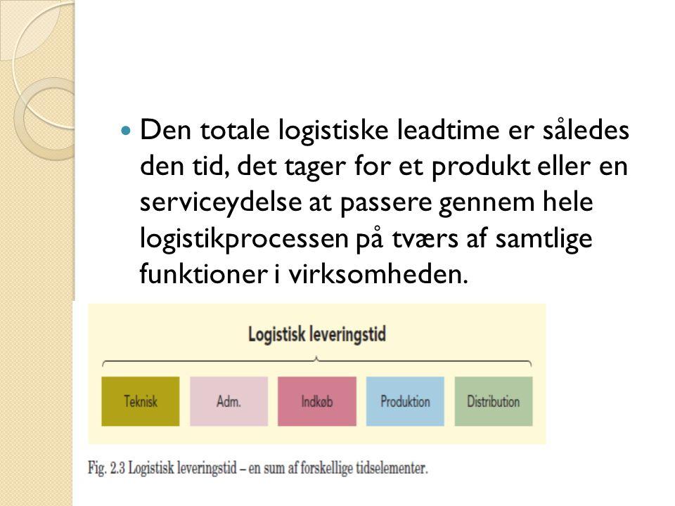  Den totale logistiske leadtime er således den tid, det tager for et produkt eller en serviceydelse at passere gennem hele logistikprocessen på tværs af samtlige funktioner i virksomheden.