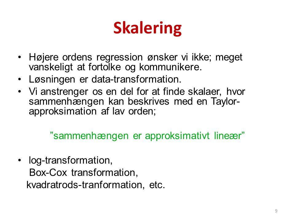 Skalering •Højere ordens regression ønsker vi ikke; meget vanskeligt at fortolke og kommunikere. •Løsningen er data-transformation. •Vi anstrenger os