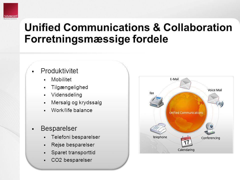 Unified Communications & Collaboration Forretningsmæssige fordele  Produktivitet  Mobilitet  Tilgængelighed  Vidensdeling  Mersalg og krydssalg 