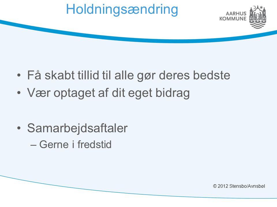Holdningsændring •Få skabt tillid til alle gør deres bedste •Vær optaget af dit eget bidrag •Samarbejdsaftaler –Gerne i fredstid © 2012 Stensbo/Avnsbø