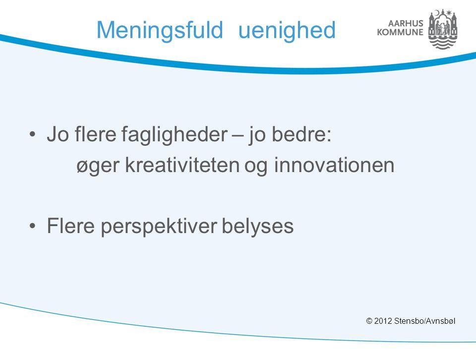 Meningsfuld uenighed •Jo flere fagligheder – jo bedre: øger kreativiteten og innovationen •Flere perspektiver belyses © 2012 Stensbo/Avnsbøl