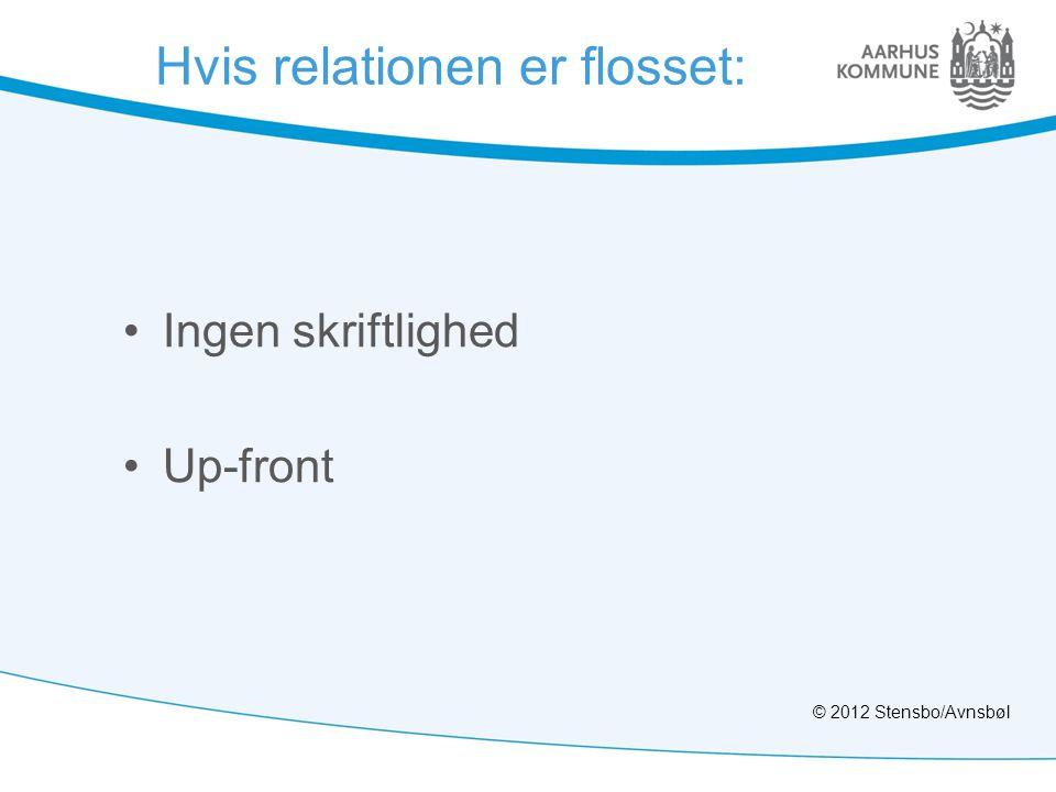 Hvis relationen er flosset: •Ingen skriftlighed •Up-front © 2012 Stensbo/Avnsbøl