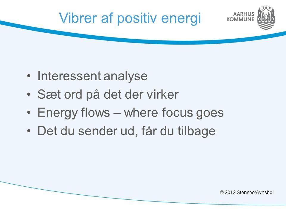Vibrer af positiv energi •Interessent analyse •Sæt ord på det der virker •Energy flows – where focus goes •Det du sender ud, får du tilbage © 2012 Stensbo/Avnsbøl