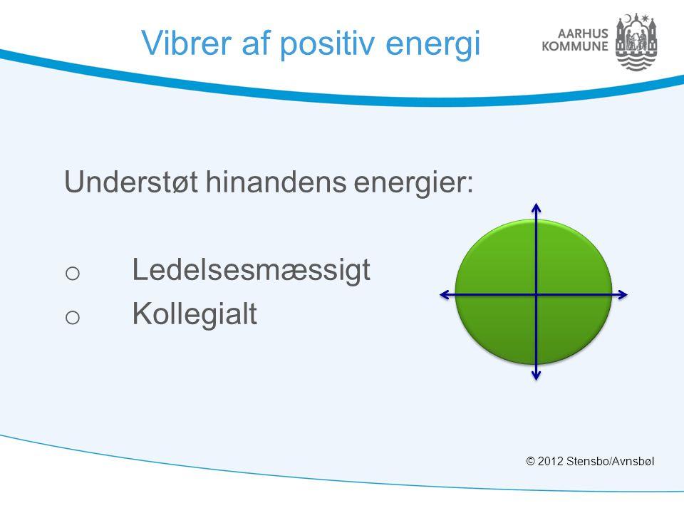 Vibrer af positiv energi Understøt hinandens energier: o Ledelsesmæssigt o Kollegialt © 2012 Stensbo/Avnsbøl