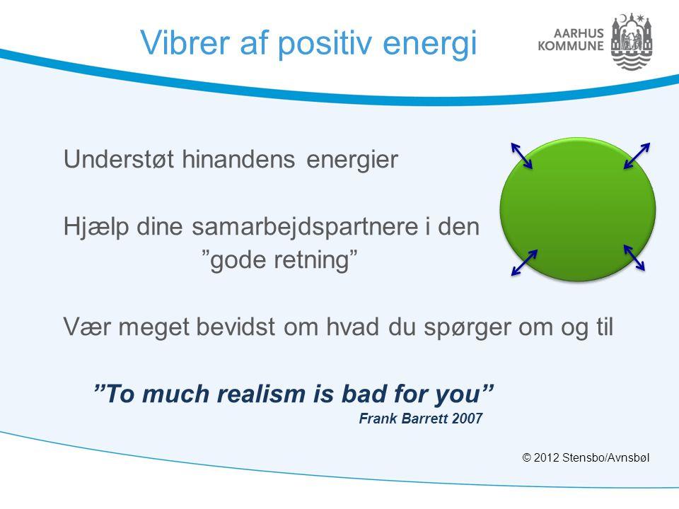 """Vibrer af positiv energi Understøt hinandens energier Hjælp dine samarbejdspartnere i den """"gode retning"""" Vær meget bevidst om hvad du spørger om og ti"""