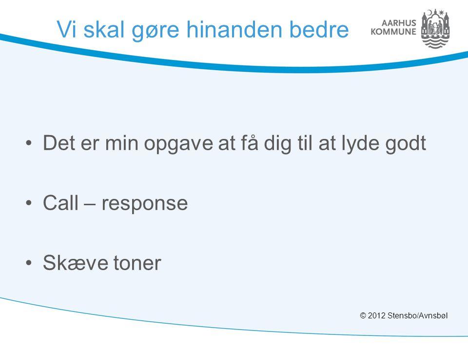 Vi skal gøre hinanden bedre •Det er min opgave at få dig til at lyde godt •Call – response •Skæve toner © 2012 Stensbo/Avnsbøl