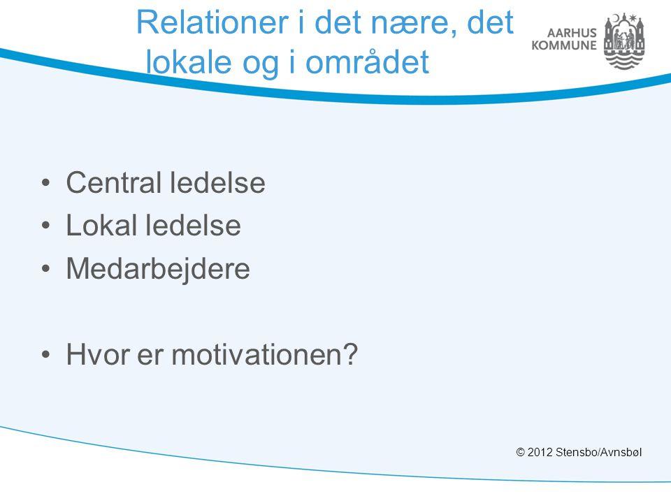 Relationer i det nære, det lokale og i området •Central ledelse •Lokal ledelse •Medarbejdere •Hvor er motivationen? © 2012 Stensbo/Avnsbøl