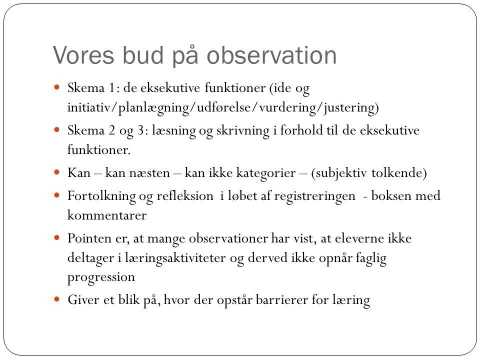 Vores bud på observation  Skema 1: de eksekutive funktioner (ide og initiativ/planlægning/udførelse/vurdering/justering)  Skema 2 og 3: læsning og s