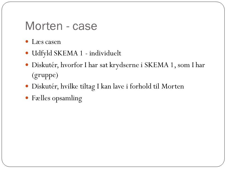 Morten - case  Læs casen  Udfyld SKEMA 1 - individuelt  Diskutér, hvorfor I har sat krydserne i SKEMA 1, som I har (gruppe)  Diskutér, hvilke tilt