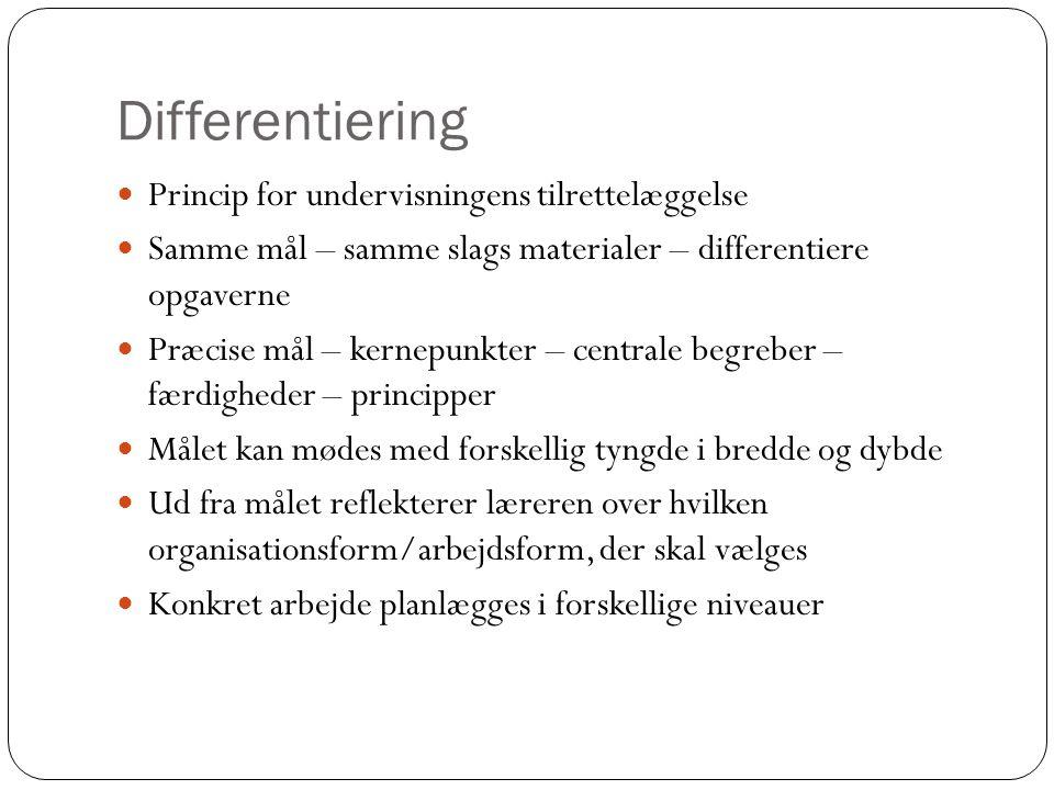 Differentiering  Princip for undervisningens tilrettelæggelse  Samme mål – samme slags materialer – differentiere opgaverne  Præcise mål – kernepun