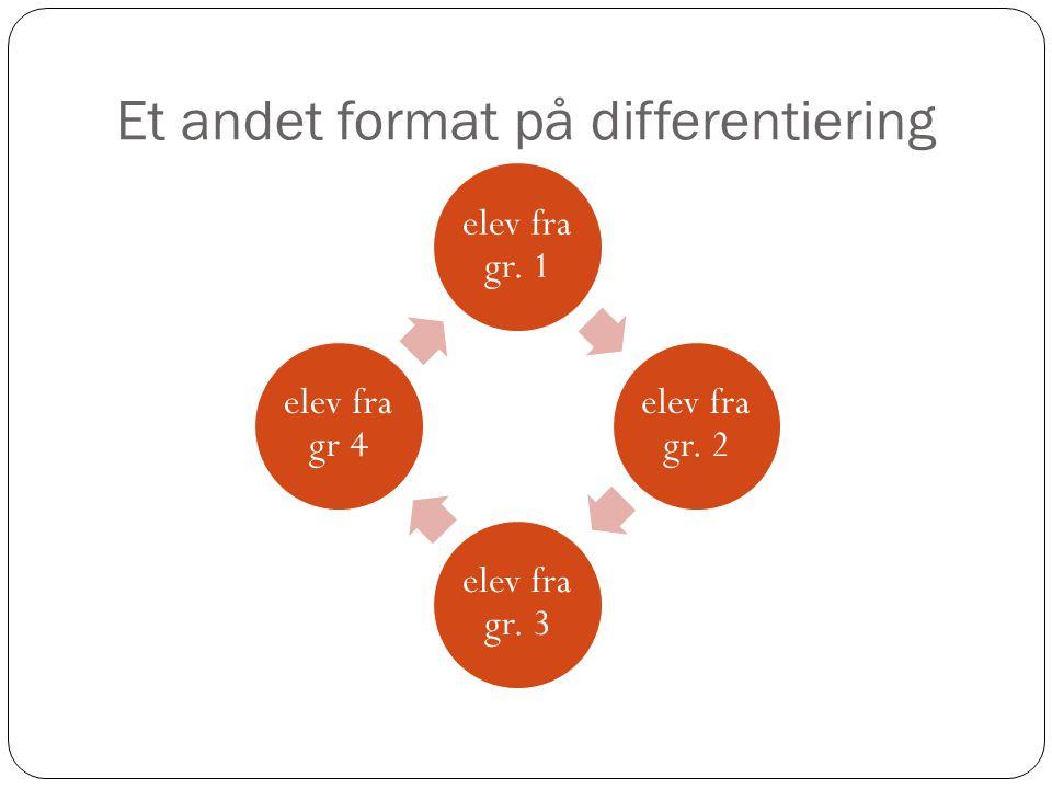 Et andet format på differentiering elev fra gr. 1 elev fra gr. 2 elev fra gr. 3 elev fra gr 4