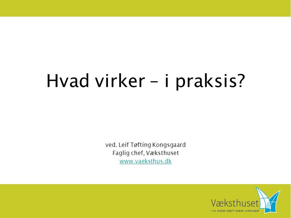 Hvad virker – i praksis? ved. Leif Tøfting Kongsgaard Faglig chef, Væksthuset www.vaeksthus.dk