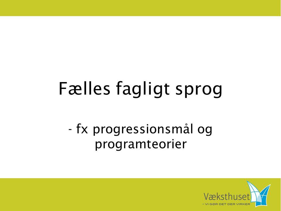Fælles fagligt sprog - fx progressionsmål og programteorier