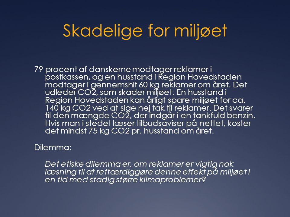 Skadelige for miljøet 79 procent af danskerne modtager reklamer i postkassen, og en husstand i Region Hovedstaden modtager i gennemsnit 60 kg reklamer