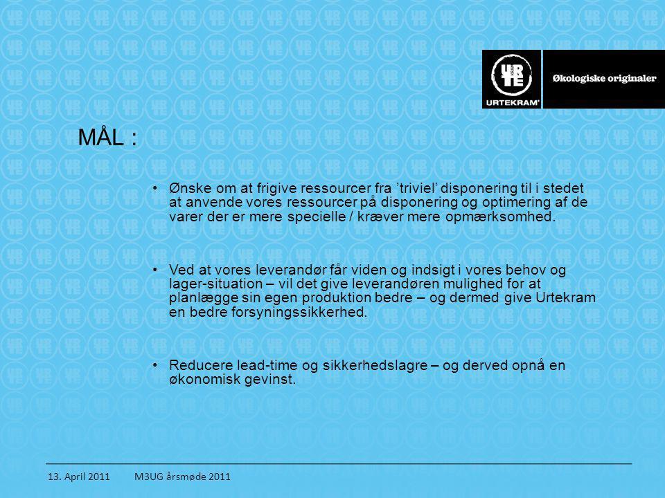 13. April 2011 M3UG årsmøde 2011 MÅL : •Ønske om at frigive ressourcer fra 'triviel' disponering til i stedet at anvende vores ressourcer på disponeri