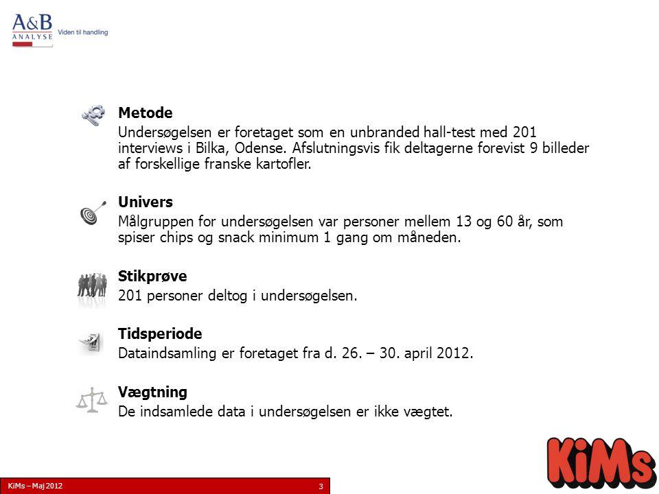 KiMs – Maj 2012 3 Metode Undersøgelsen er foretaget som en unbranded hall-test med 201 interviews i Bilka, Odense.