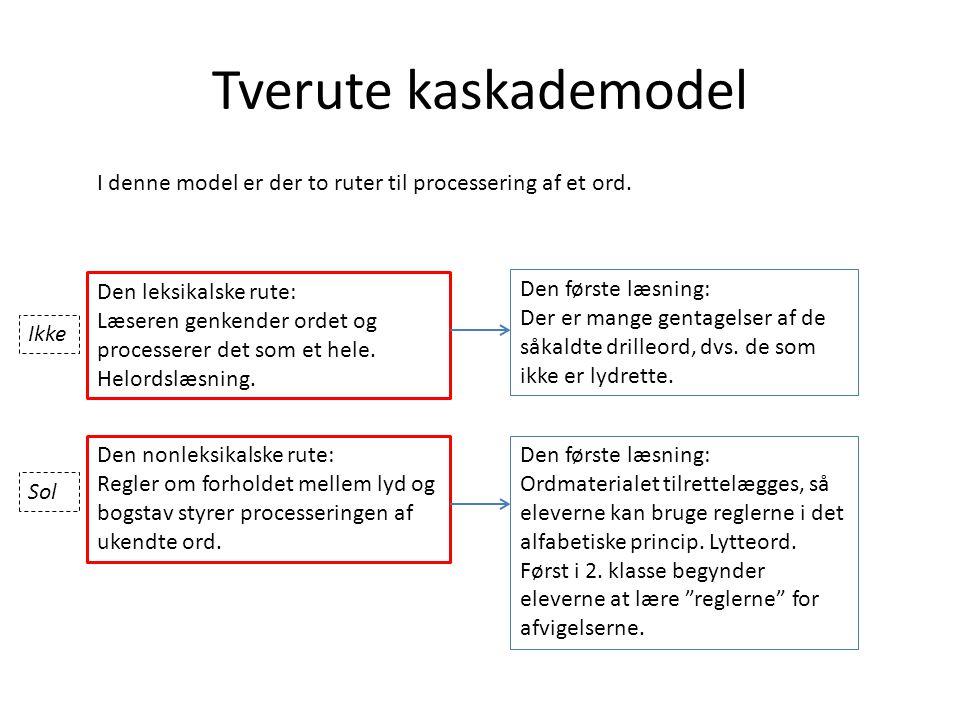 Tverute kaskademodel I denne model er der to ruter til processering af et ord. Den leksikalske rute: Læseren genkender ordet og processerer det som et