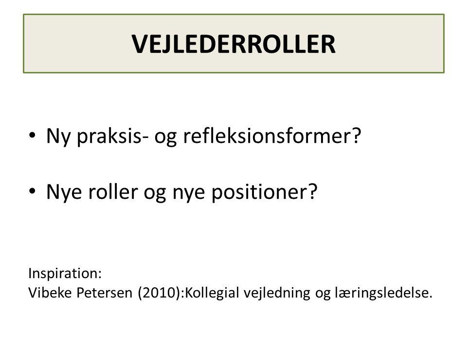 VEJLEDERROLLER • Ny praksis- og refleksionsformer? • Nye roller og nye positioner? Inspiration: Vibeke Petersen (2010):Kollegial vejledning og lærings