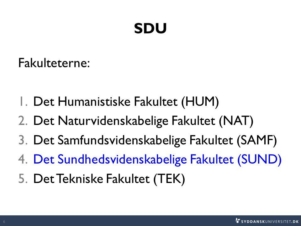 SDU Fakulteterne: 1.Det Humanistiske Fakultet (HUM) 2.Det Naturvidenskabelige Fakultet (NAT) 3.Det Samfundsvidenskabelige Fakultet (SAMF) 4.Det Sundhedsvidenskabelige Fakultet (SUND) 5.Det Tekniske Fakultet (TEK) 6