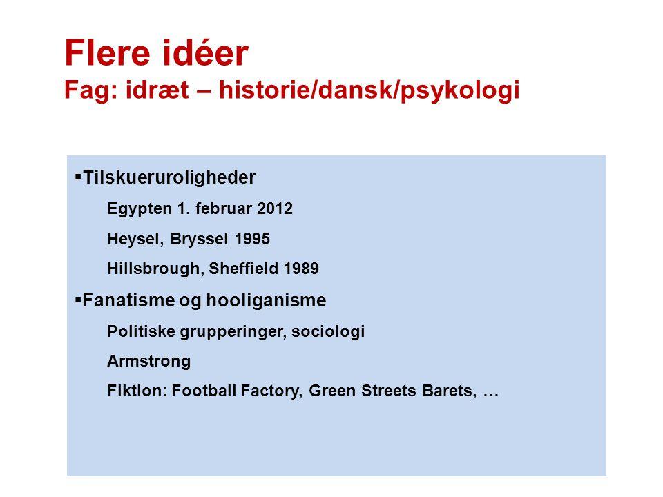 Flere idéer Fag: idræt – historie/dansk/psykologi  Tilskueruroligheder Egypten 1. februar 2012 Heysel, Bryssel 1995 Hillsbrough, Sheffield 1989  Fan