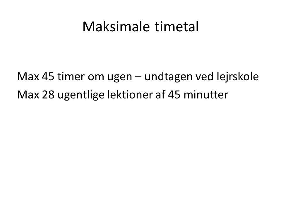 Maksimale timetal Max 45 timer om ugen – undtagen ved lejrskole Max 28 ugentlige lektioner af 45 minutter