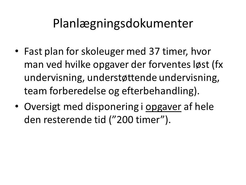 Planlægningsdokumenter • Fast plan for skoleuger med 37 timer, hvor man ved hvilke opgaver der forventes løst (fx undervisning, understøttende undervisning, team forberedelse og efterbehandling).