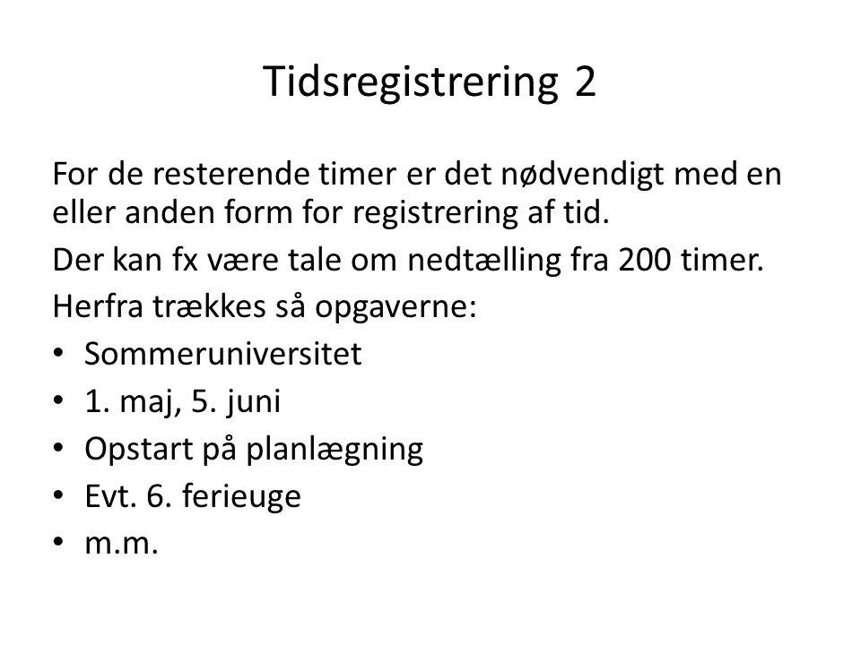 Tidsregistrering 2 For de resterende timer er det nødvendigt med en eller anden form for registrering af tid. Der kan fx være tale om nedtælling fra 2