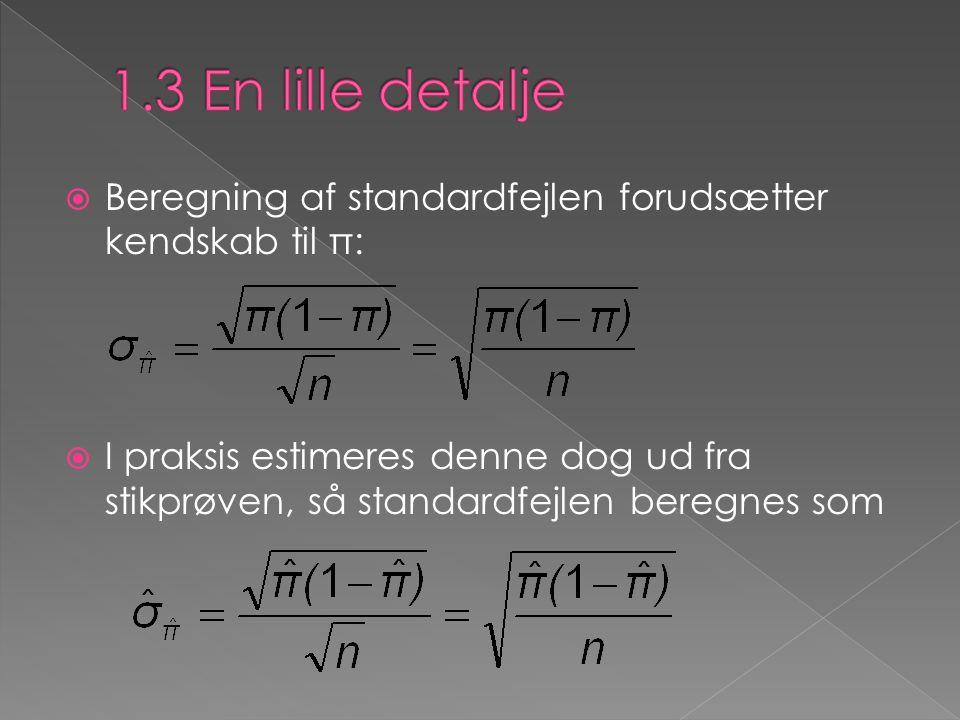  Beregning af standardfejlen forudsætter kendskab til π:  I praksis estimeres denne dog ud fra stikprøven, så standardfejlen beregnes som