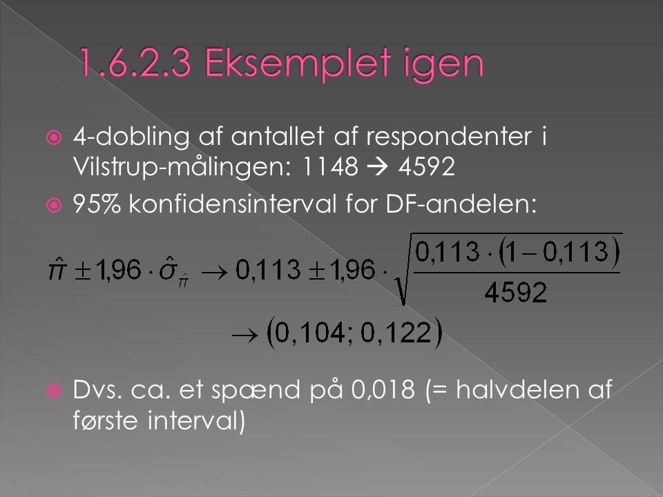  4-dobling af antallet af respondenter i Vilstrup-målingen: 1148  4592  95% konfidensinterval for DF-andelen:  Dvs. ca. et spænd på 0,018 (= halvd
