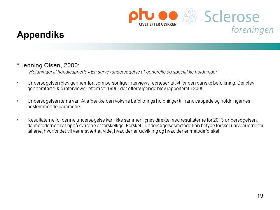 Appendiks *Henning Olsen, 2000: Holdninger til handicappede - En surveyundersøgelse af generelle og specifikke holdninger •Undersøgelsen blev gennemfø