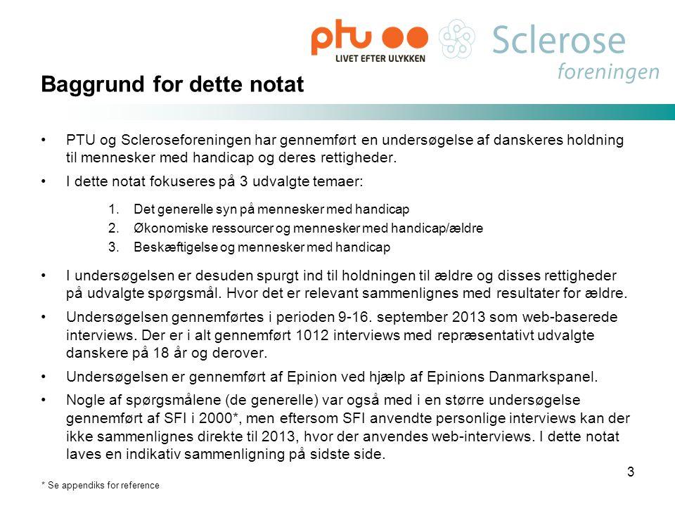 Baggrund for dette notat •PTU og Scleroseforeningen har gennemført en undersøgelse af danskeres holdning til mennesker med handicap og deres rettighed