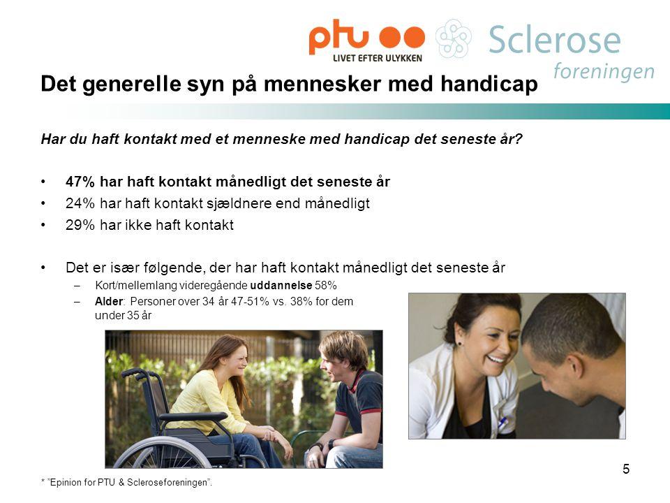 Det generelle syn på mennesker med handicap Har du haft kontakt med et menneske med handicap det seneste år? •47% har haft kontakt månedligt det senes