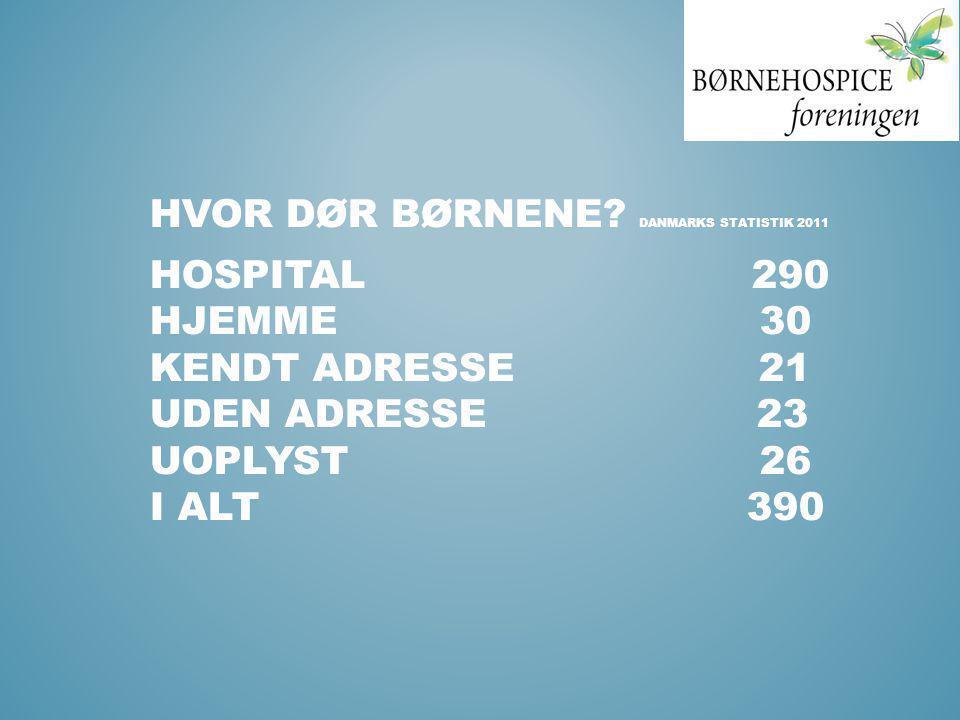 HVOR DØR BØRNENE? DANMARKS STATISTIK 2011 HOSPITAL 290 HJEMME 30 KENDT ADRESSE 21 UDEN ADRESSE 23 UOPLYST 26 I ALT 390