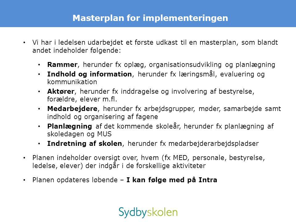 Masterplan for implementeringen • Vi har i ledelsen udarbejdet et første udkast til en masterplan, som blandt andet indeholder følgende: • Rammer, her