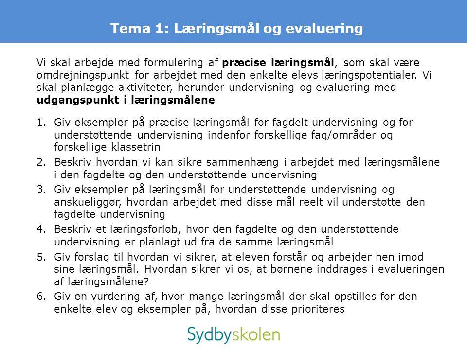 Tema 1: Læringsmål og evaluering Vi skal arbejde med formulering af præcise læringsmål, som skal være omdrejningspunkt for arbejdet med den enkelte el